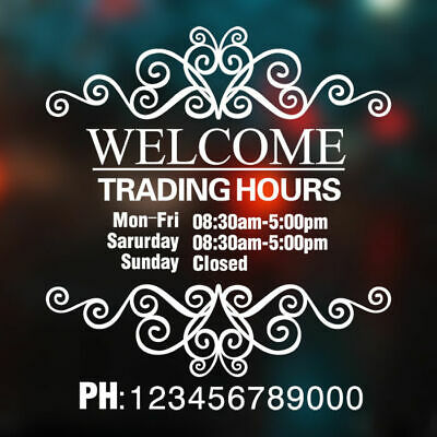Custom Vinyl Lettering TRADING HOURS Window Sticker Decal Shop Sign Wall Decor
