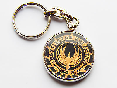 BATTLESTAR GALACTICA Film Movie Quality Chrome Keyring Picture on Both Sides!