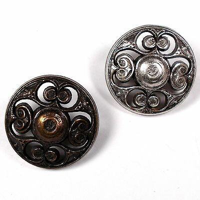 Vintage Style Metal Filigree Buttons - Colour and Size Choice