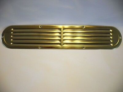 "Vtg NOS BRASS Louvered VENT Kitchen Sink Cabinet Trailer Oven Fridge 17""X3-1/4"""