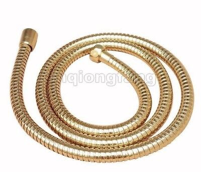 """59"""" (1.5M) Gold Polished Brass Flexible Shower Hose 1/2"""" Connection Cba134"""