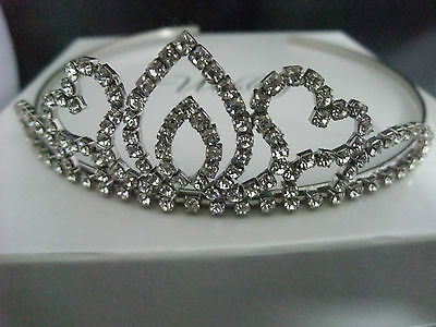SILVER TIARA , HEART DIAMANTÉ STYLE, WEDDING, PROM,  PAGEANT QUEEN new boxed