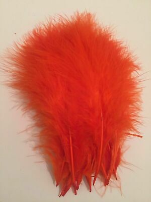 "20 HOT ORANGE MARABOU FEATHERS SMALL 2-4"" / 5-10cm FROM FLYNSCOTSMAN TACKLE"