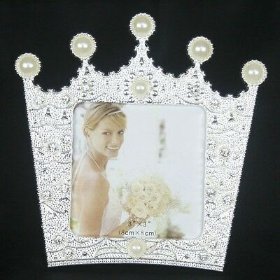 Fashion Crystal Pearl Crown Home Decor Photo Frame Picture Frame Alloy Metal 3''