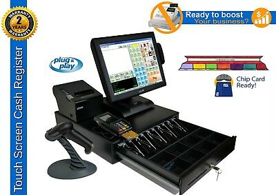 "IPOS 15"" Touch Screen Cash Register Including Pinpad & Chip Reader/ Scanner"