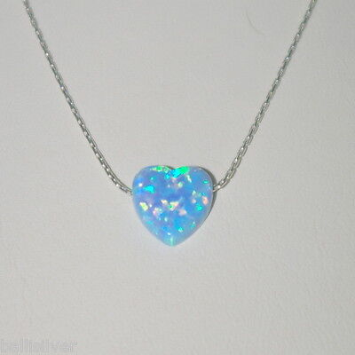 4 pcs Sterling Silver 925 Chain Necklaces with Light Blue OPAL HEART CHARMS Lot