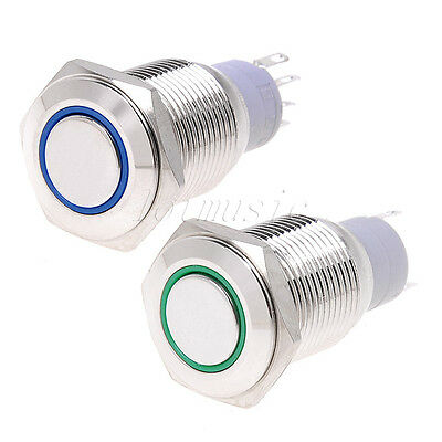 2*16mm 12V Led Angel Eye Push Button Metal Momentary Switch-GREEN+BlUE