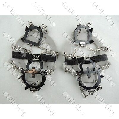 1 pair Heavy Duty Ice Climbing Mountaineering Shoes Crampons w Chain Connect