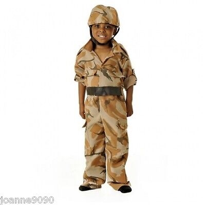 Childs Boys Deluxe Army Soldier Military Camo Fancy Dress Costume With Helmet