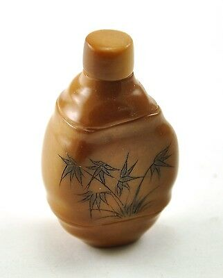 "1.7"" Vintage Chinese Natural TAGUA NUT Hand Carved Small Snuff Bottle - Bamboo"