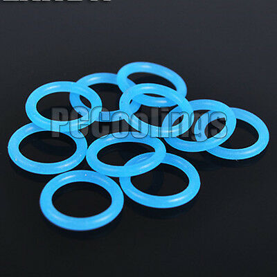 10Pcs Water Cooling UV Reactive O Ring Blue 11mm  x 2mm G 1/4 For Barb Fittings