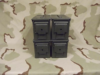 4(Four) Military Surplus 50cal M2A1 Ammo Cans Boxes .50 caliber Grade 2 good
