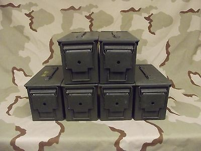 6(Six) Military Surplus 50cal M2A1 Ammo Cans Boxes .50 caliber Grade 2/Very Good