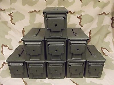9(Nine) Military Surplus 50Caliber (M2A1) Ammo Cans .50cal Grade 2  Good
