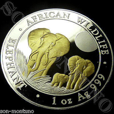 2014 SOMALIA ELEPHANT GILDED IN 24K GOLD 1 Oz .999 Silver African Wildlife Coin