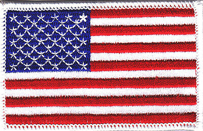 AMERICAN FLAG  w/WHITE BORDER-USA-PATRIOTIC/Iron On Embroidered Applique Patch