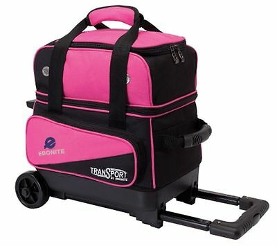 Ebonite Transport 1 Ball Roller Pink Bowling Bag with Wheels 5 Year Warranty