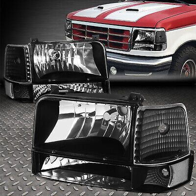 For 1992 1996 Ford F150 F250 F350 Black Per Headlights Clear