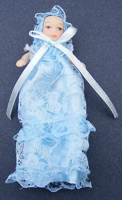Baby Dolls House Miniature In A Long Blue Gown