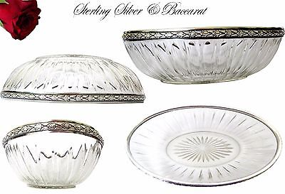 French Sterling Silver fruit bowl or bread basket & Baccarat