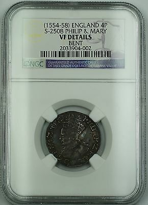 (1554-58) England Silver Groat 4P Coin S-2508 Philip & Mary NGC VF Det. Bent AKR