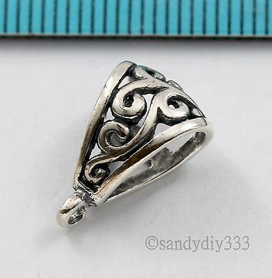 1x BALI STERLING SILVER FLOWER SLIDE PENDANT BAIL CONNECTOR #1503