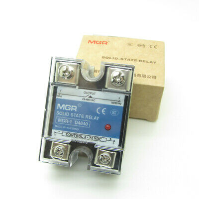 10PCS 40A SSR DC to AC Solid State Relay DC3-32V Control AC24-480V D4840
