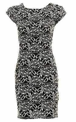 Ladies Cream Black Floral Lace Cut Out Back Lined Bodycon Short Women's Dress