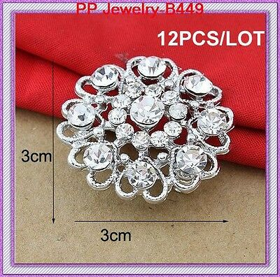 12PCS/LOT Silver Tone Crystal Flower Heart Pretty Pin Brooches For Wedding B449