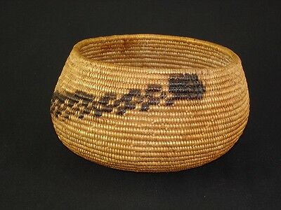 A Mission snake bowl, Native American Indian basket, circa: 1910