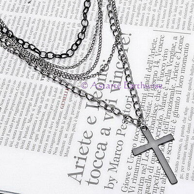 1x RETRO BLACK & SILVER MULTILAYER CHAIN & CROSS PENDANT Wicca Pagan Witch Goth
