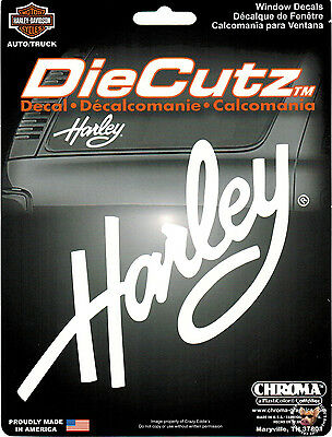 Harley Davidson White Script Die Cutz Decal ** Made In The Usa **