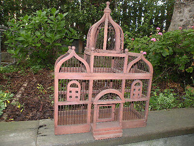 Large Vintage Victorian Bird Finch Canary Dometop Cage Wood & Wire Ready 2 Paint