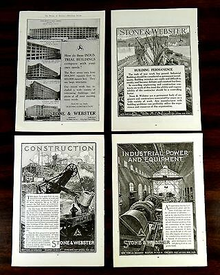 STONE & WEBSTER CONSTRUCTION EXCAVATOR CRANES INDUSTRY BUILDINGS 4 ads 1918 1919