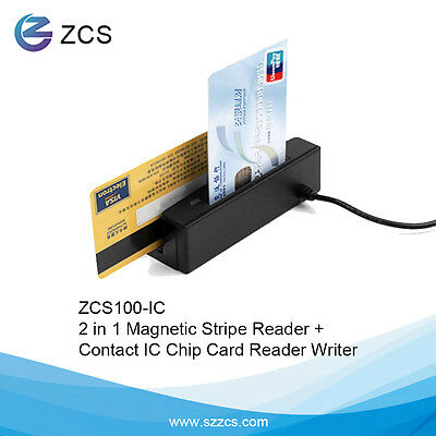 ZCS100-IC 2-in-1 USB Credit Card reader Magnetic Read EMV ic chip Reader/ Writer