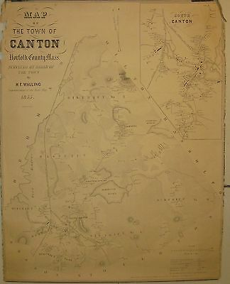 ANTIQUE 1855 HF WALLING *TOWN of CANTON* MASSACHUSETTS WALL MAP - SCARCE
