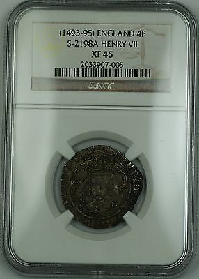 (1493-95) England Silver Groat Fourpence 4P Coin S-2198A Henry VII NGC XF-45 AKR