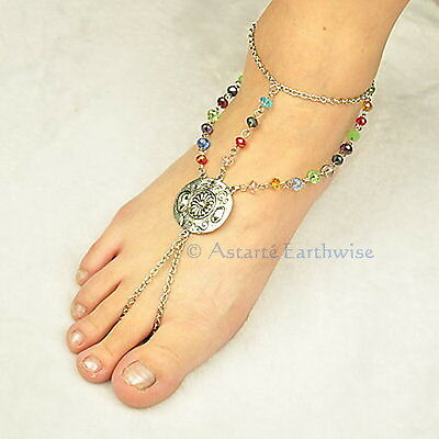 ANKLET TIBETAN STYLE WITH GLASS BEADS Wicca Witch Pagan Goth Belly Dance Hippie