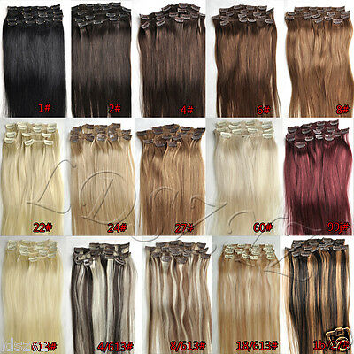 """NEW 15""""18""""20""""22"""" 7PCS Clip In Remy Human Hair Extensions Any Colors US Full Head"""