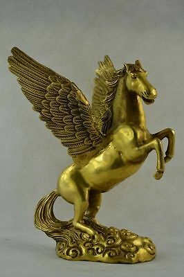 Collectibles Old Decorated Handwork Copper Carving Pegasus Wonderful Statue