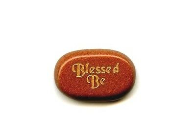 """Blessed Be"" Word Stone - Goldstone"