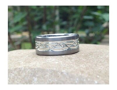 Titanium with Silver Inlay Celtic Knot Wedding Ring Band Made in the UK Size 9.5