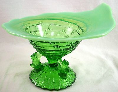 """Scarce Green Opalescent Glass Northwood """"Ocean Shell"""" Candy Bowl, c1904 EX COND"""