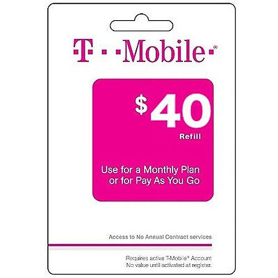 T-Mobile Pay As You Go Phone Refill Card $40
