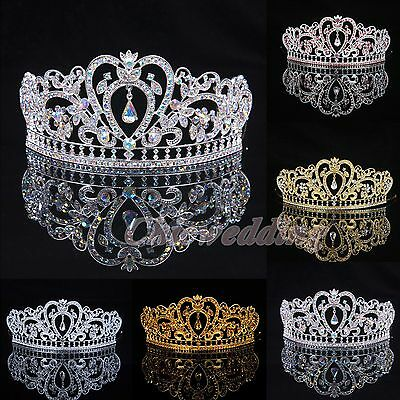 Crystal Wedding Tiara Crown Veil Headband Prom Pageant Princess Crowns Headpiece