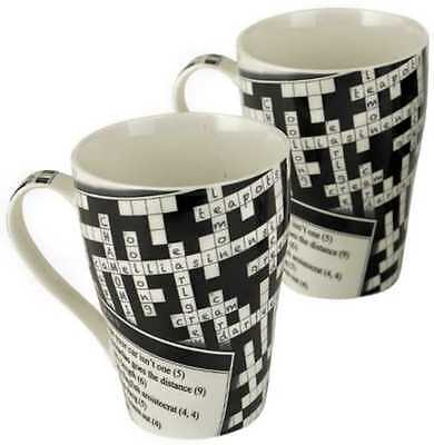 2 x NEW Paul Cardew Crossword 15oz mug coffee cup pair