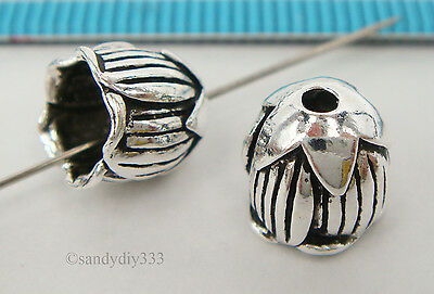 2x BALI STERLING SILVER FLOWER END CAP CONE BEAD 8.4mm  #2143