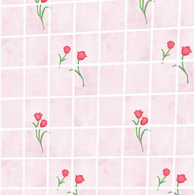 Dolls House Wallpaper 1/12th 1/24th scale Kitchen Pink Quality Paper #89