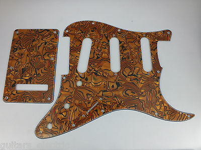 BRONZE SHELL EFFECT SSS SCRATCH PLATE Pickguard to fit USA/Mex STRATOCASTER