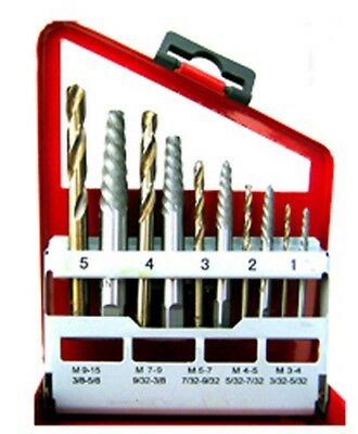 10pc Screw Extractor Easy Out Set Left Hand Drill Bits Spiral Flute BROKEN SCREW